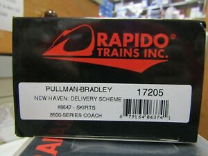 RAPIDO 17205 HO NEW HAVEN PULLMAN BRADLEY 8600 COACH AS DELIVERED RD#8647