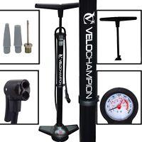 Pro High Pressure Bike Floor/Track Pump Presta/Schrader Black Steel barrel gauge
