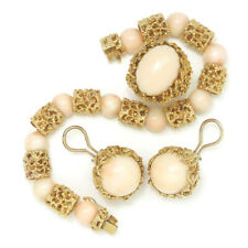 Vintage Angel Skin Coral Ring, Bracelet & Earrings Set Yellow Gold