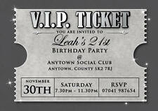 Birthday invitations 18th 21st 30th Silver V.I.P. Ticket inc envelopes