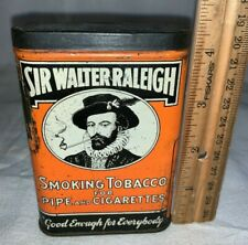 ANTIQUE SIR WALTER RALEIGH TOBACCO TIN LITHO VERTICAL POCKET VARY 4 GOOD ENOUGH
