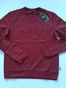 BOSS Hugo Boss Sweatshirt Salbo Herren weinrot mit Logo Gr.L**NEU