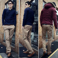 Men's Long Trousers Solid Color Slim Fit Skinny Straight Dress Casual Pants