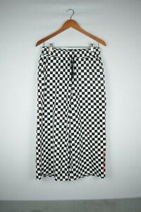 VANS Women's Checkerboard Check Culottes Long Wide Leg Sweat Pants Shorts Size M