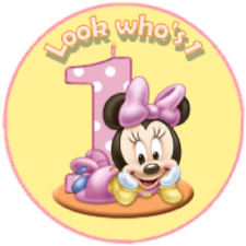 24 Baby Minnie 1st, Birthday, Goody Bag Stickers Party Thank You Set 1