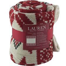 "Ralph Lauren Red Holiday Southwest Style Fleece Throw Blanket 60"" x 70"""