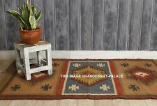 Kilim Grey, Rust, Brown 92x158cm Quality Hand Made Reversible Rug Woven Throw