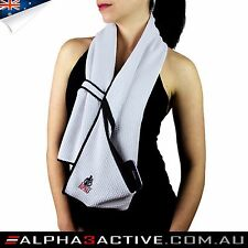 Alpha3Active towel, microfiber, pocket, zipper, scarf loop, gym, sport, fitness