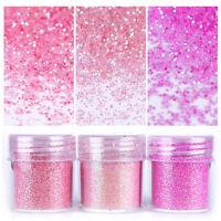 10ml rosa Glitter Puder Nail Art Gel Acryl Powder Glitterstaub Dekoration