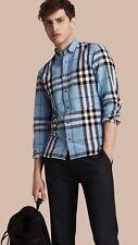 BURBERRY BRIT MEN'S Classic Check Detail Stretch Cotton Blend Shirt L Light Blue