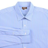 Hamilton Blue White Striped Cotton Spread Collar Button Down Dress Shirt 16.5