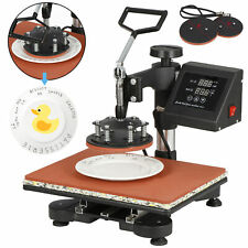 5In1 Digital Heat Press Machine Sublimation T-Shirt Mug Plate Hat Printer 15x12