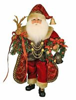CHRISTMAS DECORATIONS - WOODLAND SANTA WITH CHRISTMAS WREATH & LIGHTED LANTERN