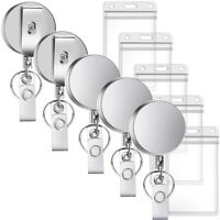 5-Piece Metal Retractable Badge Reel with ID Card Holder Thickened Keychain W2C9