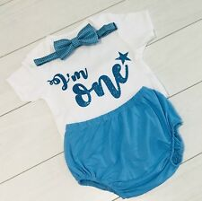 Luxury Baby Boys First 1st Birthday Cake Smash Outfit Set Top Vest Blue 12-18m