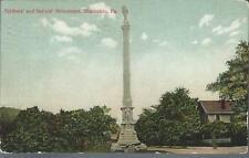 1908 Gar Soldiers and Sailors monument Shamokin Pennsylvania Pa Postcard