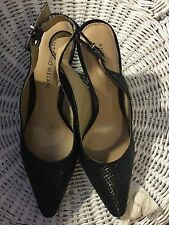 "Shoes, ANTONIO MELANI, classic black leather pump, sling back, 3""  heel, SZ:7M"