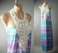 Pastel Tie-Dye Beach Boho Hippie 70s Crochet Halter Long Maxi 134 mv Dress S M L