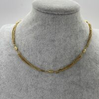 VINTAGE Chain & Bead Station Necklace Gold Tone Collar Length Retro 70s Disco