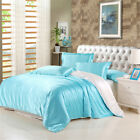 Satin Silk Bedding Set Duvet Quilt Cover Flat Sheet Pillow Case Twin/Queen/King