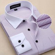 Mens Long Sleeve Dress Shirts Striped Formal Slim Business Work Button Up Z6309