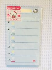 HELLO KITTY Day Planner WEEKLY Schedule Refill Pages, Fits LV MM, Rare, NIP