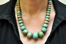"""Large Exquisite Native American Blue and Green Turquoise Necklace 18""""-20"""" Long"""