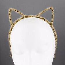 Brown cheetah cat ears headband furry kitten hair band cosplay cats ear leopard
