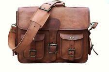 Men's Goat Leather Vintage Laptop Messenger Handmade Briefcase Bag Satchel