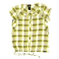 The North Face Women's Button Shirt Plaid Checkered Adjustable Green Size Medium