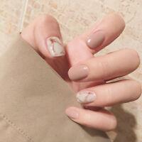 Khaki 24pcs Fake False Nail Tips Extension Manicure Art Press On Nails  TBO