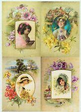 Rice Paper Vintage Flower Garden for Decoupage Decopatch Scrapbook Craft Sheet