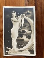 ANTIQUE 1900s-1910s FRENCH RPPC PAPER MOON RISQUE EDWARDIAN LADY - UNPOSTED