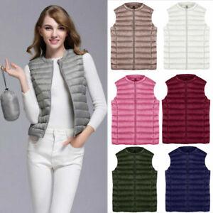 Women's Vests Down Coat Vest Blouse Outerwear Sleeveless Jacket Puffer Overcoat