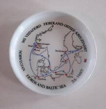 Rosenthal Germany Ceramic Coaster Norwegian Cruise Ship, Fjords & Baltic Sea Map