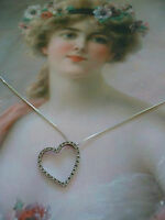 vintage Sterling Silver heart pendant with white Sapphires and chain necklace