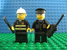 2 x Lego Brand New Mini Fig Figure policeman & fireman Police Fire Man