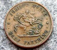 GREAT BRITAIN QUEEN VICTORIA 1887 JUBILEE MODEL HALF FARTHING TOKEN