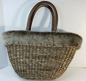 Bath Body Works Tote Bag  Brown Wicker Rattan Faux Fur Spacious Interior Lined
