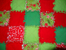 """Christmas Candy Flannel Rag Quilt 41""""x65"""" Snuggle Xmas Red Green"""