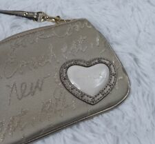 Coach New York Script 1941 Lurex Gold Metallic Heart Wristlet Wallet Lavender