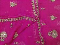 Om Vintage Dupatta Chiffon Hand Beaded Zardozi Pink Stole Scarves Stole XAD1236