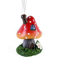 New Fairy House - Fairy Toadstool Incense Cone Burner- Red Magic Mushroom - 12cm