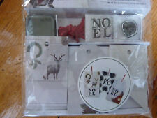 Xmas Gift Tags & Stamp set Festive Fauna Deer Stag NOEL Stamping