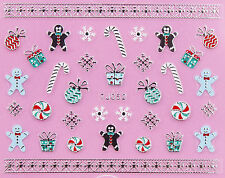 Christmas SILVER White Snowflake Ginger Man Candy Cane 3D Nail Art Sticker Decal