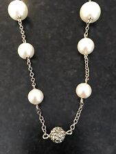 """Silver Tone & Faux Pearl Necklace 18"""" Long"""