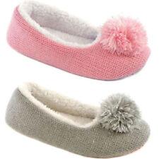 Slumberzzz Girl's Lurex Pom Pom Knit Ballet Slippers