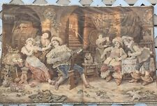 "wall hanging tapestry made in france bar scene playing instrument 25""X39"""