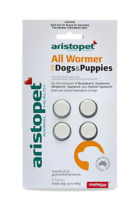 Aristopet All Wormer for Dogs&Puppies 4pk Dog Worming Tablets - Allwormer