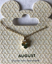 Disney Parks Goldtone Birthstone Necklace Mickey Mouse - August (Peridot)